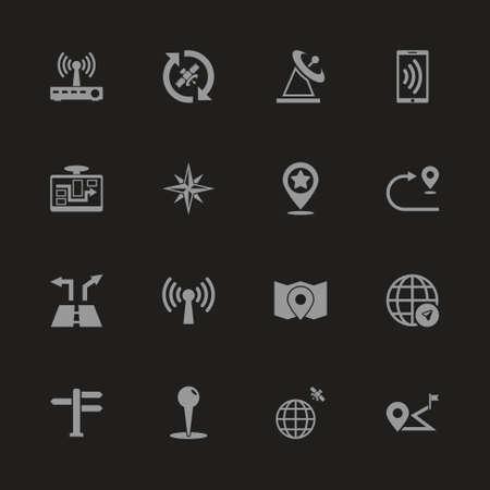 Satelite Navigation icons - Gray symbol on black background. Simple illustration. Flat Vector Icon.
