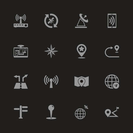 Satelite Navigation icons - Gray symbol on black background. Simple illustration. Flat Vector Icon.