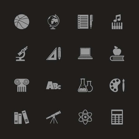 School Subject icons  Gray symbol on black background Simple illustration.