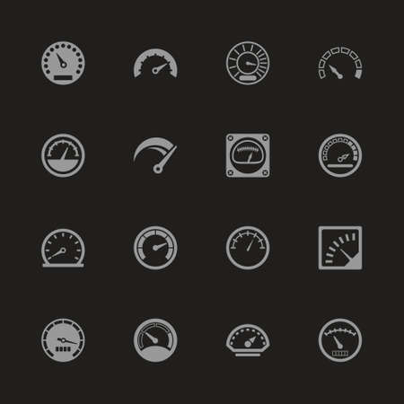 A Speedometer icons  Gray symbol on black background.