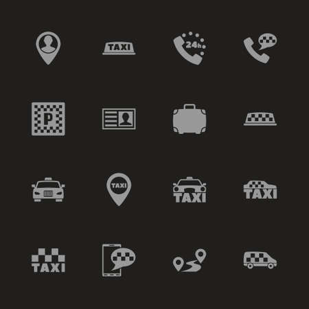 Taxi icons  Gray symbol on black background.