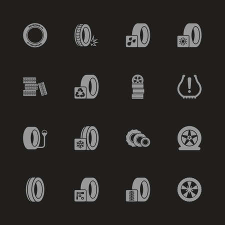 Tires icons  Gray symbol on black background. Vettoriali