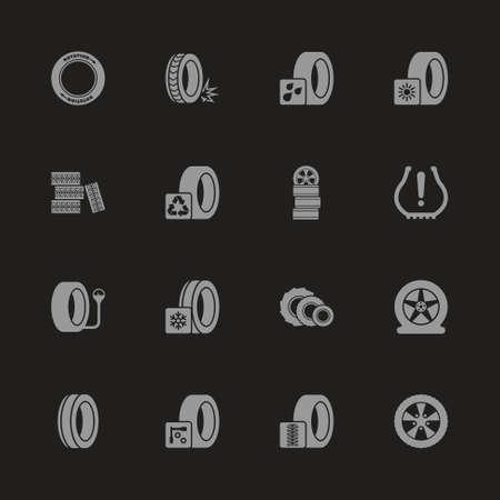 Tires icons  Gray symbol on black background. Illustration