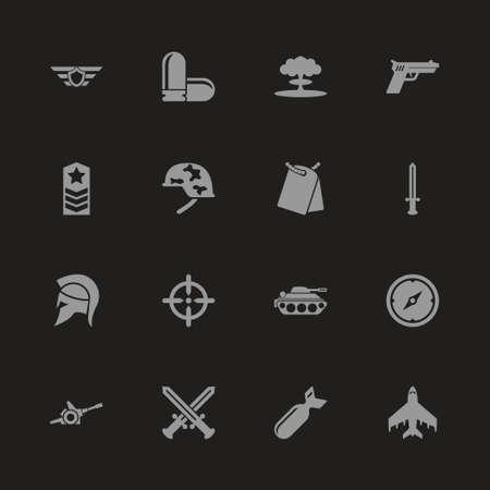 War icons - Gray symbol on black background. Simple illustration. Flat Vector Icon. Illustration