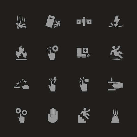 Warning Signs icons - Gray symbol on black background. Simple illustration. Flat Vector Icon.