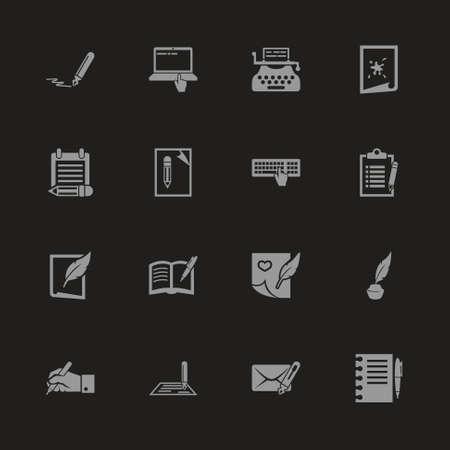 Writing icons - Gray symbol on black background.