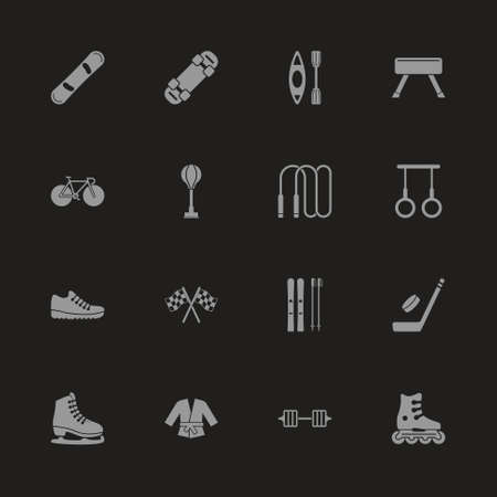 Sport icons. Gray symbol on black background. Simple illustration. Flat Vector Icon. Banque d'images - 95888801