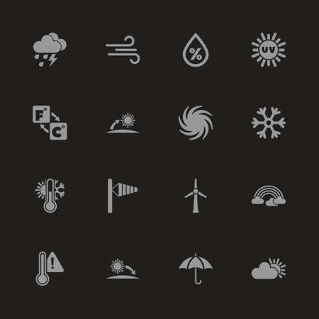 Weather icons - Gray symbol on black background. Simple illustration. Flat Vector Icon.