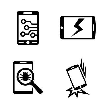 Broken Smartphone. Simple Related Vector Icons Set Illustration