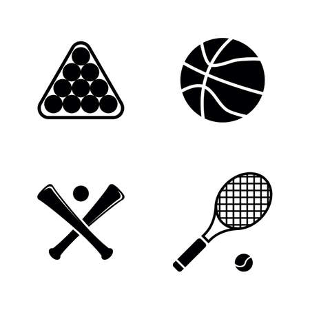 Sports Ball Black Flat Illustration on White Background. Çizim