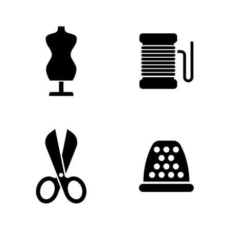 Sewing Clothes Equipment. Simple Related Vector Icons Set for Video, Mobile Apps, Web Sites, Print Projects and Your Design. Black Flat Illustration on White Background.