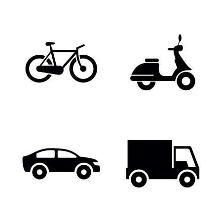 Wheeled vehicles transport simple related vector icons set for video, mobile apps, web sites, print projects and your design. Black flat illustration on white background.