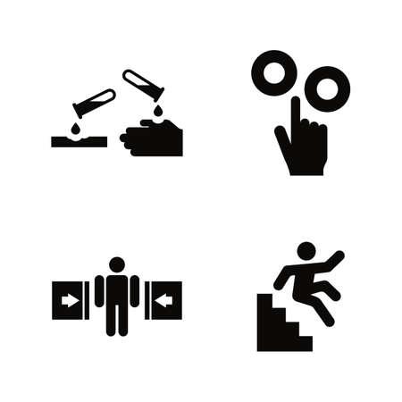 Hazard and Danger Vector Icons Set in Black Flat Illustration on White Background.
