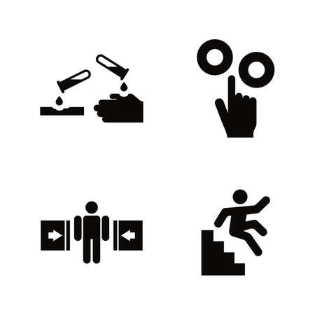 Hazard and Danger Vector Icons Set in Black Flat Illustration on White Background.
