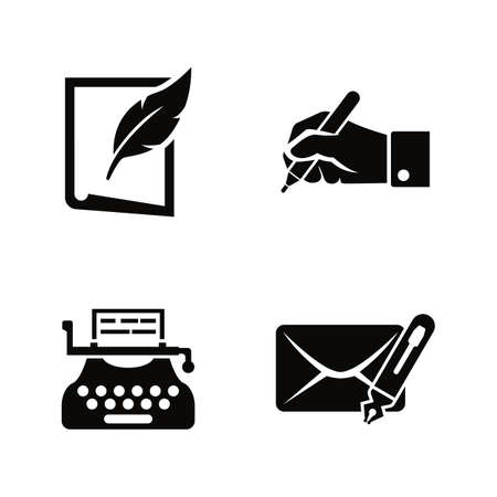 Writing and typewriting simple related vector icons set for video, mobile apps, web sites, print projects and your design. Black flat illustration on white background.