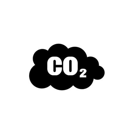CO2 Carbon Dioxide Emissions Cloud vector icon. Simple flat symbol on white background Illustration