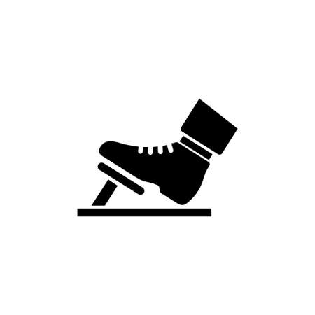 Foot in the Boot Presses Gas or Brake Pedal vector icon. Simple flat symbol on white background