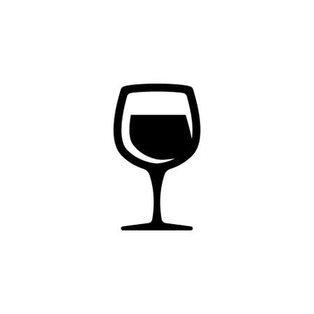 Glass of wine vector icon. Simple flat symbol on white background