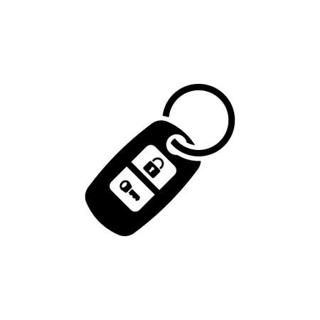 Car Keychain. Flat Vector Icon. Simple black symbol on white background