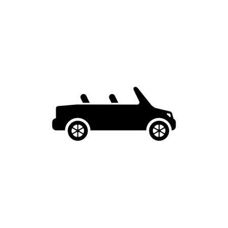 Cabriolet Flat Vector Icon in Simple black symbol on white background Çizim