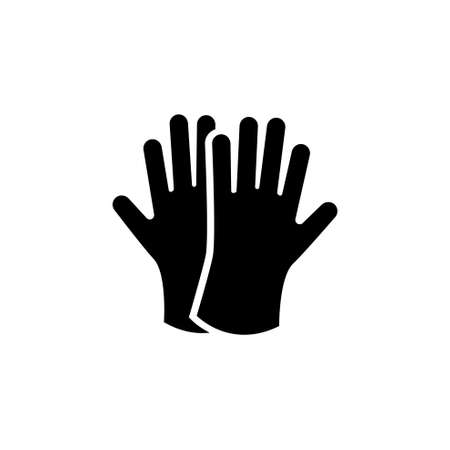 Protective Rubber Gloves. Flat Vector Icon. Simple black symbol on white background