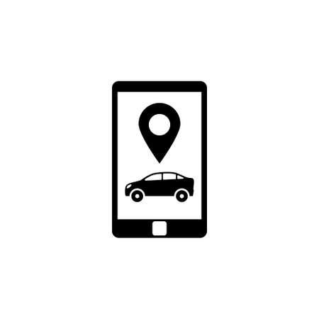 Smartphone con servizio taxi. Icona di vettore piatto. Semplice simbolo nero su sfondo bianco