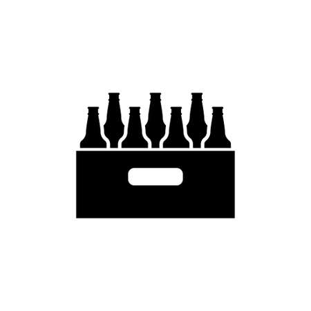 Pack of Beer Bottles flat Vector Icon. Simple black symbol on white background 일러스트