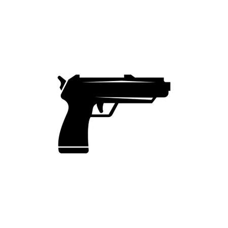 Pistol Gun. Flat Vector Icon. 向量圖像