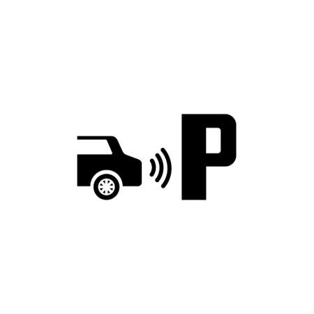 Parktronic Sensor. Parking Assist. Flat Vector Icon. Simple black symbol on white background Ilustrace