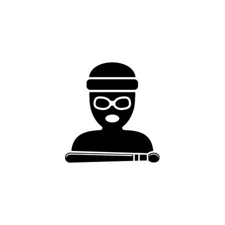 Drummer Avatar. Flat Vector Icon. Simple black symbol on white background