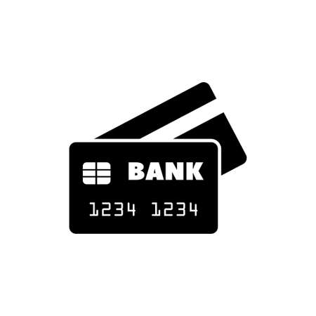 Bank Credit Card on Flat Vector Icon. Simple black symbol on white background Vectores