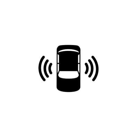 Car Assistant and Traffic Monitoring System. Flat Vector Icon. Simple black symbol on white background  イラスト・ベクター素材