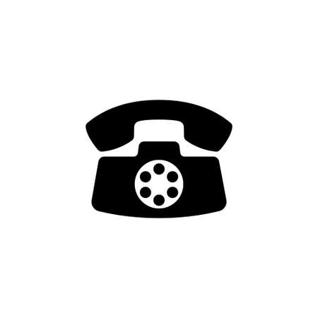 Retro Old Phone. Flat Vector Icon. Simple black symbol on white background