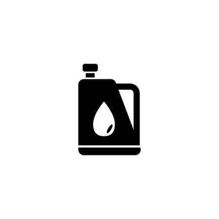 Motor Oil Tank. Flat Vector Icon. Simple black symbol on white background Иллюстрация