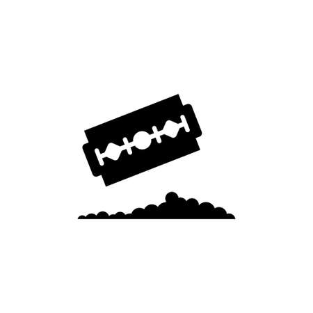 Razor Blade with Pile Cocaine. Flat Vector Icon. Simple black symbol on white background Иллюстрация
