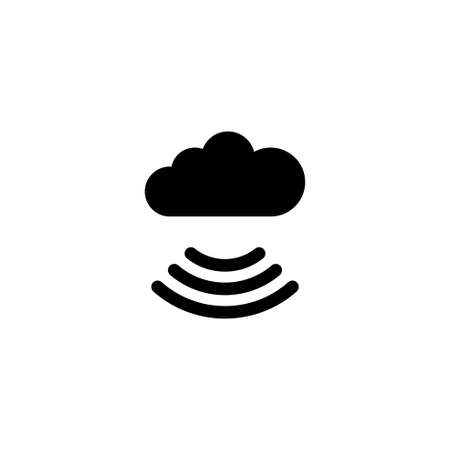 Wireless Internet Cloud Flat Vector Icon in Simple black symbol on white background.