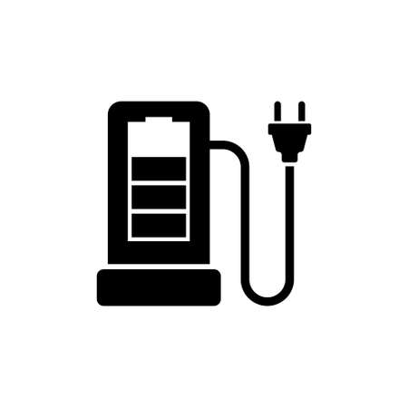Charging Station for Electric Car Flat Vector Icon in Simple black symbol on white background. Illustration