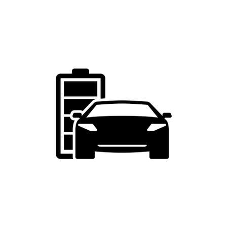 Hybrid Car on Flat Vector Icon. Simple black symbol on white background Illustration