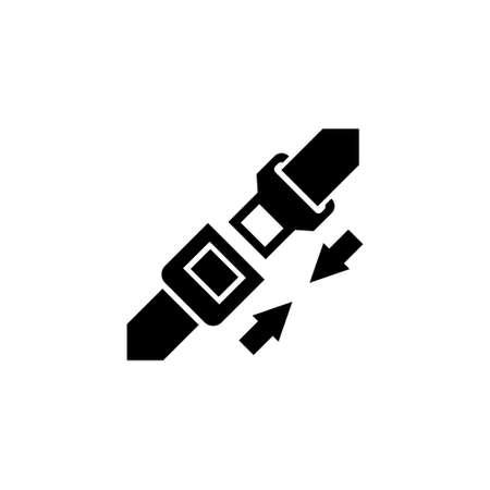 Safety Belt. Seatbelt. Flat Vector Icon. Simple black symbol on white background