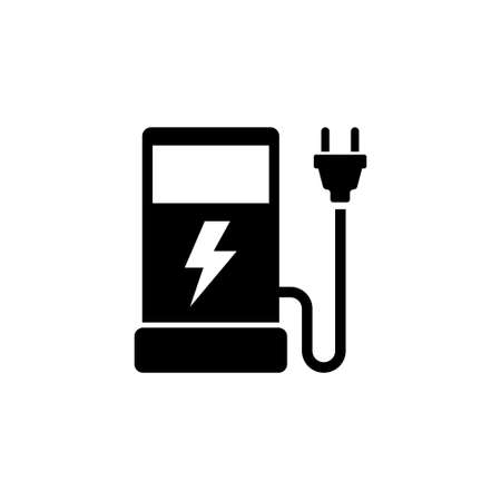 Eco electric fuel pump flat vector icon. Simple black symbol on white background.  イラスト・ベクター素材