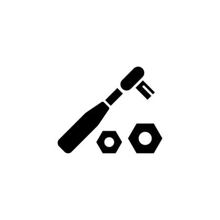Ratchet Wrench and Nuts. Flat Vector Icon. Simple black symbol on white background Illustration