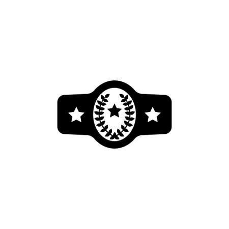 Belt Boxing Sport Championship. Winner Fight Award. Flat Vector Icon. Simple black symbol on white background