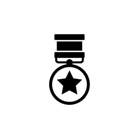 Medal of Valor. Medal of Honor. War Military Award. Flat Vector Icon. Simple black symbol on white background Illustration