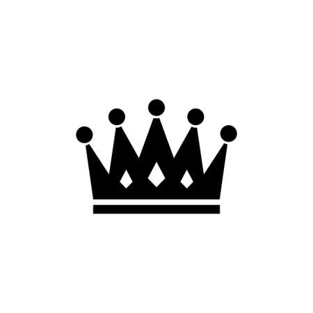 Royal Crown. Flat Vector Icon. Simple black symbol on white background Stock Illustratie