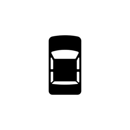 Car Top View. Flat Vector Icon. Simple black symbol on white background Stock Illustratie