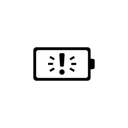 Battery with Exclamation. Flat Vector Icon. Simple black symbol on white background