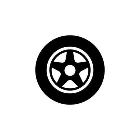 Car wheel, flat vector icon. Simple black symbol on white background.