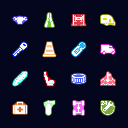 Car Repair Neon light icons set. Collection bright Vector icon 向量圖像