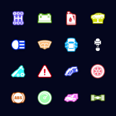 Car neon light icons set, collection bright vector icon.