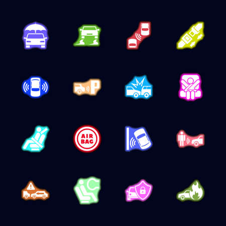 Auto Safety Neon light icons set. Collection bright Vector icon